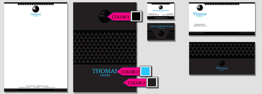 Ci Set 035 Color Geschäftsausstattung Umschläge Selbst Drucken Start Up Set