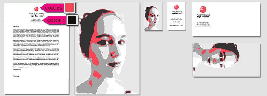 Ci Set 101 Flat Corporated Identity Stationery Package Pop Art Individual Art Self Branding Entrepreneur Hip Hipster
